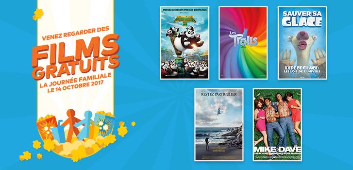Venez regarder des films GRATUITS pendant la Journée Familiale!