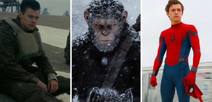 dunkirk, war for the planet of the apes, spider-man: homecoming