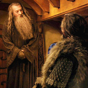Ian McKellen and Richard Armitage in a scene from The Hobbit