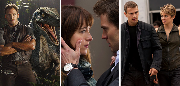 Jurassic World, Fifty Shades of Grey, Divergent, photo