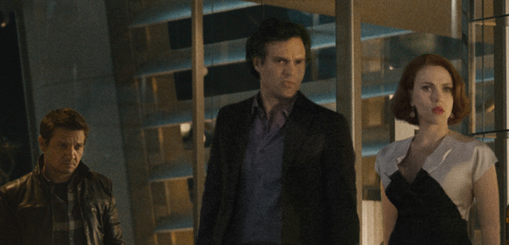 Jeremy Renner, Mark Ruffalo, Scarlett Johnasson, The Avengers: Age of Ultron, photo