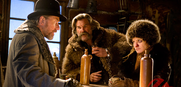 Tim Roth, Kurt Russell, Jennifer Jason Leigh, The Hateful Eight, photo