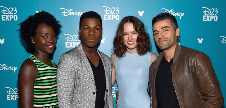 Lupita Nyong'o, John Boyega, Daisy Ridley, Oscar Isaac, Star Wars The Force Awakens, D23, photo
