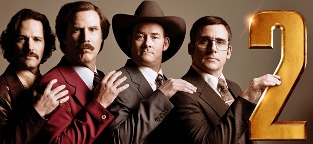 The channel 4 news team from Anchorman 2 strike a pose