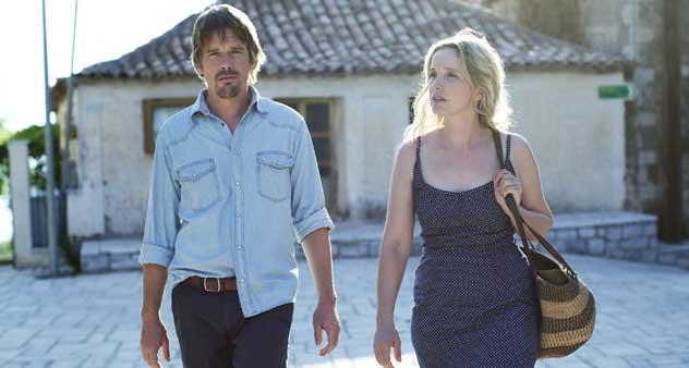 Ethan Hawke and Julie Delpy take a walk in Before Midnight