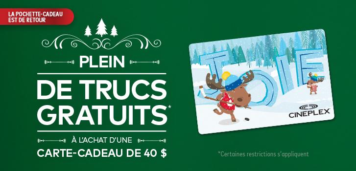 Dépensez 40 $ ou plus en cartes-cadeaux et obtenez GRATUITEMENT une pochette-cadeau des Fêtes!