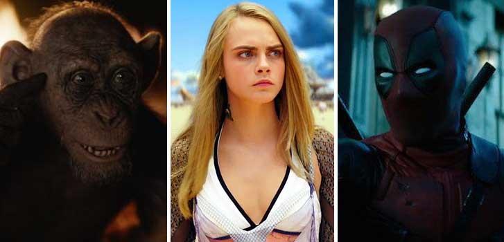 war for the plaent of the apes, valerian, deadpool, deapool 2, cineplex, news