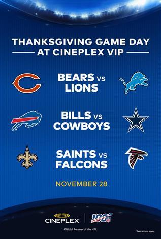 U.S. Thanksgiving Day in VIP – NFL at Cineplex