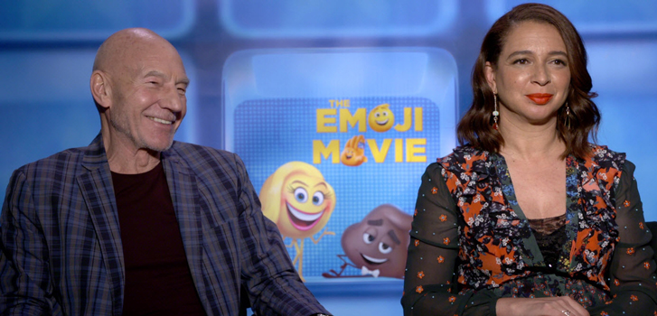 Sir Patrick Stewart and The Emoji movie cast talk emojis with Tanner Zee