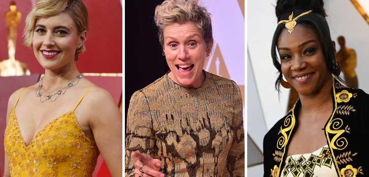 greta gerwig, frances mcdormand, tiffany haddish, international women's day., lady bird, girls trip, three billboards outside ebbing missouri, oscars,