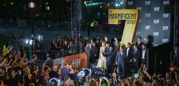 Chris Pratt, Denzel Washington and Ethan Hawke on the red carpet for The Magnificent Seven