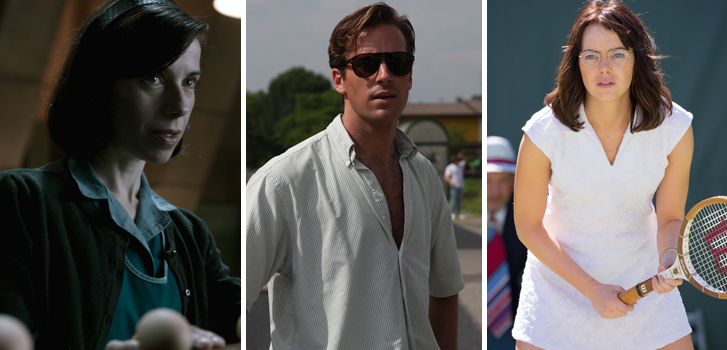 sally field, armie hammer, emma stone, tiff, the shape of water, call me by your name, battle of the sexes,