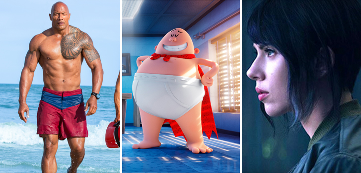 New trailers for Baywatch, Captain Underpants and Ghost in the Shell extended clip top today's roundup