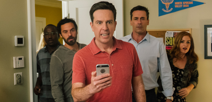 Jon Hamm, Ed Helms and the cast of Tag on the film's crazy premise