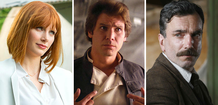 bryce dallas howard, jurassic world, han solo, star wars, daniel day lewis,