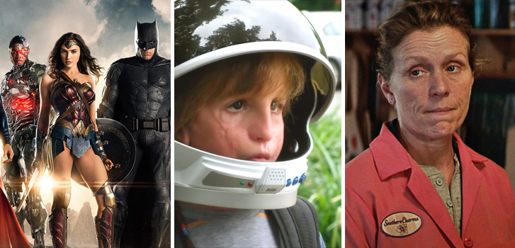 Justice League, Wonder and Three Billboards Outside Ebbing, Missouri top our What to Watch weekend preview