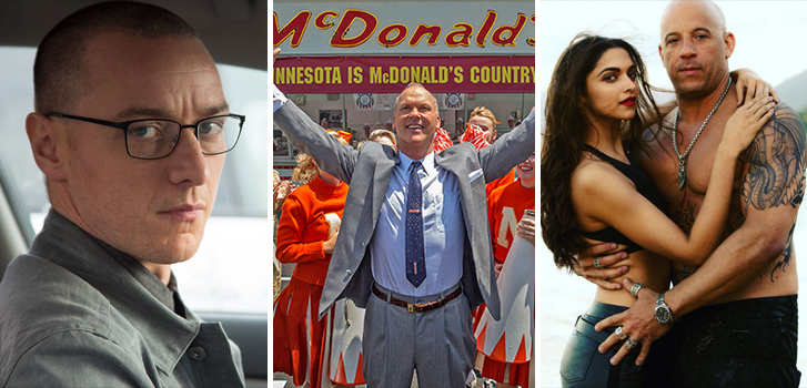 The Founder, xXx: Return of Xander Cage and Split top Tanner's What to Watch weekend preview