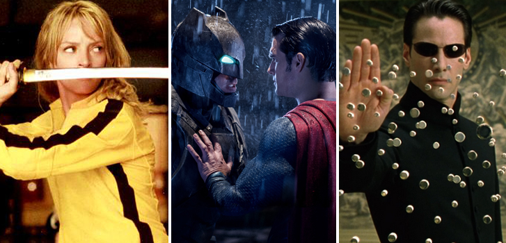 kill bill, batman v superman, the matrix, epic movie showdowns, listed, uma thurman, henry cavill, ben affleck, keanu reeves, image