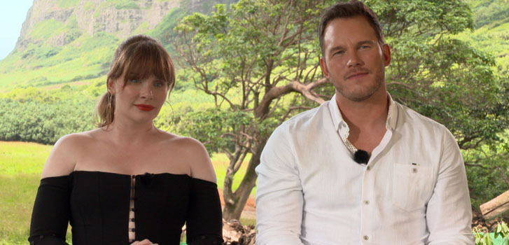 bryce dallas howard, chris pratt, jurassic world: fallen kingdom, movie, film, interview, exclusive,