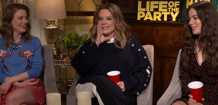 We play beer pong with Life of the Party's Melissa McCarthy, Gillian Jacobs, and more