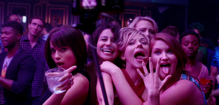 rough night, scarlett johannson, ilana glazer, zoe kravitz, jillian bell, kate mckinnon, drinks, party,