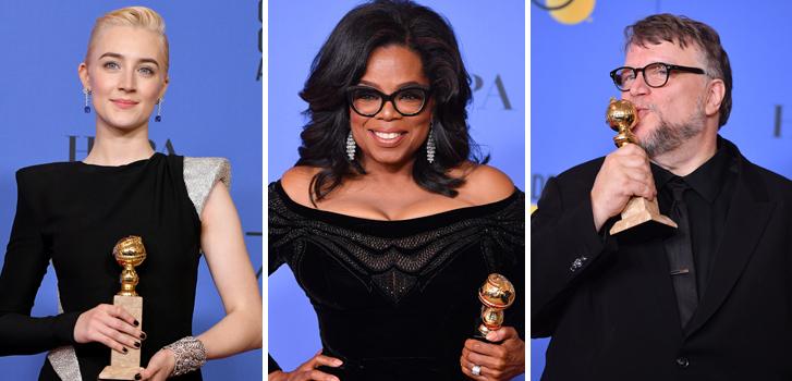 saorise ronan, oprah winfrey, guillermo del toro, golden globes, movies, film, awards,