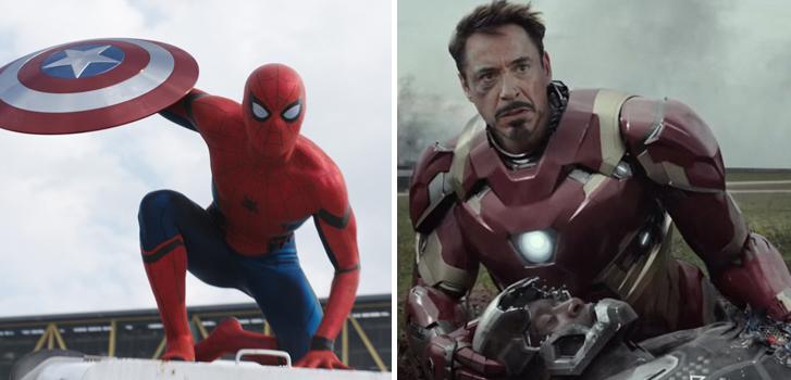 tom holland, spider-man, iron man, robert downey jr, captain america: civil war, images,