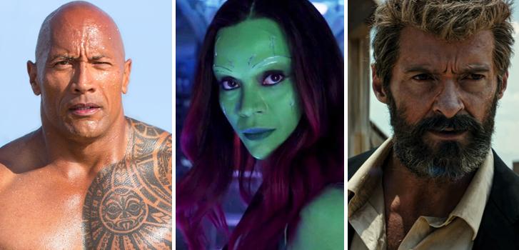 the rock, dwayne johnson, baywatch, zoe saldana, guardians of the galaxy 2, logan, hugh jackman, movies, trailers,