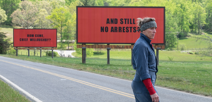 three billboards outside ebbing missouri, frances mcdormand, movie, film, tiff, sam rockwell, woody harrelson,